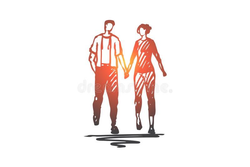 Camminando, coppie, amore, data, concetto romanzesco Vettore isolato disegnato a mano illustrazione vettoriale