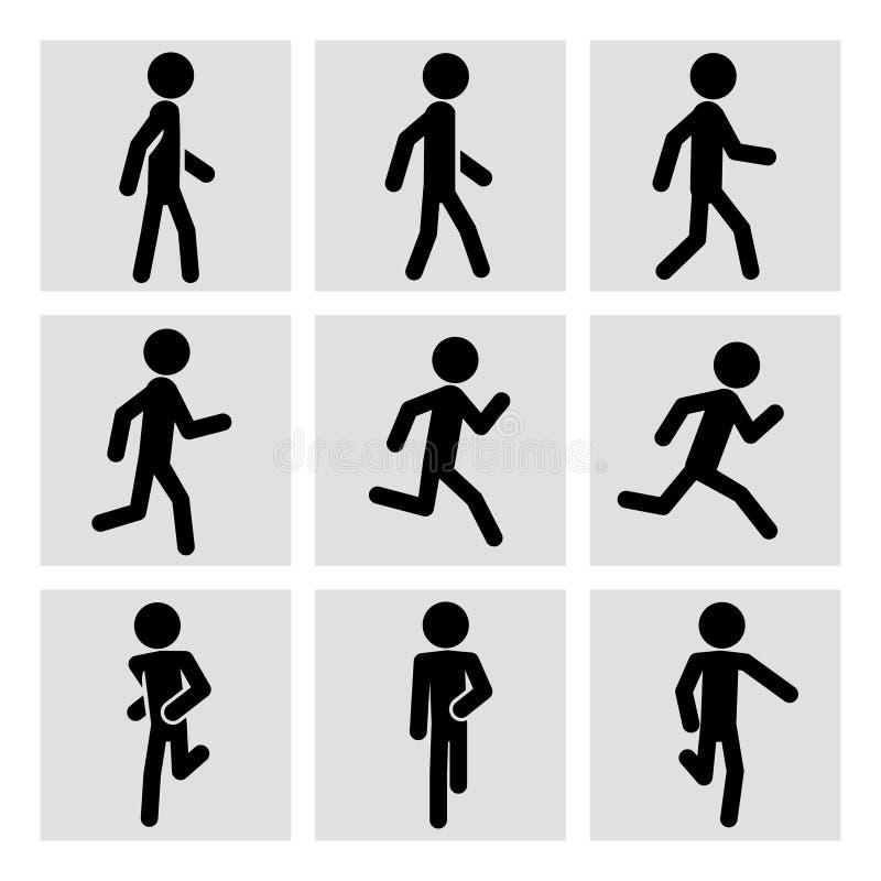 Camminando e eseguendo le icone di vettore della gente illustrazione vettoriale