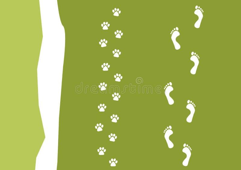 Camminando il reticolo del cane illustrazione vettoriale