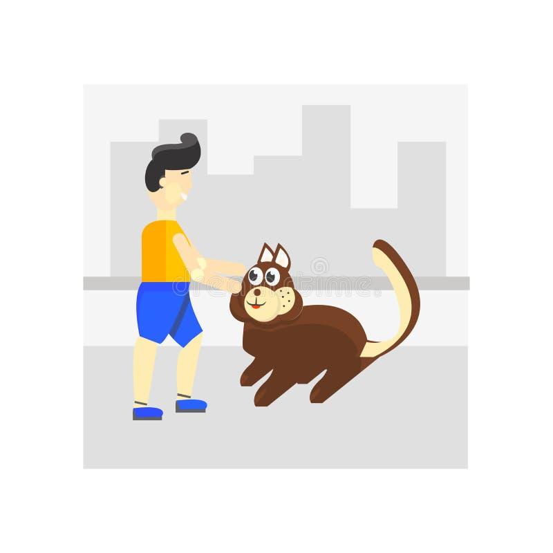 Camminando il segno ed il simbolo di vettore dell'icona del cane isolati su fondo bianco, camminante il concetto di logo del cane illustrazione vettoriale