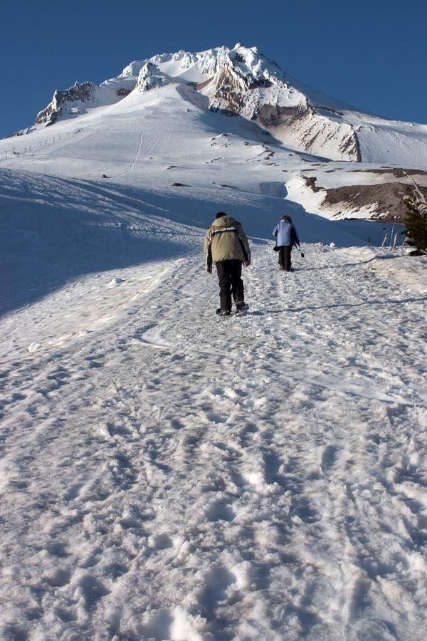 Camminando nella neve immagini stock