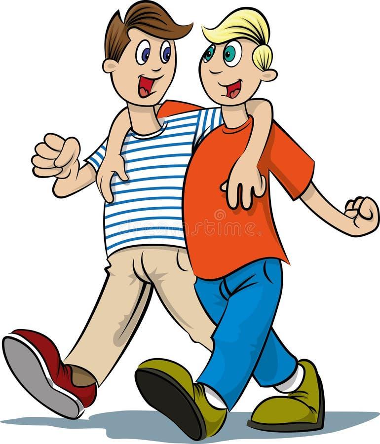 Camminare dei due ragazzi royalty illustrazione gratis