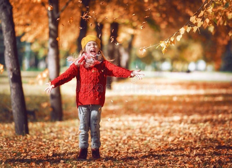 camminare della sosta della ragazza di autunno fotografie stock libere da diritti