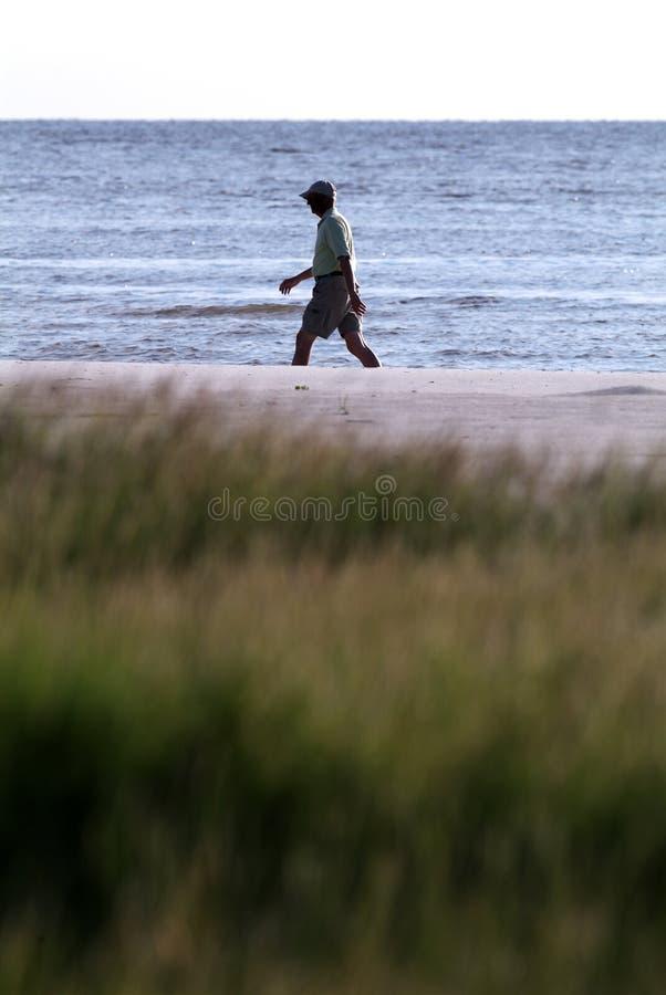 Camminare di esercitazione della spiaggia fotografia stock libera da diritti
