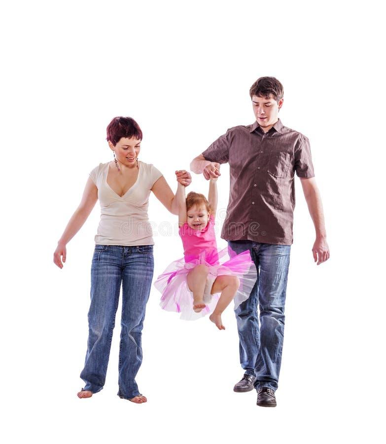 Camminare felice della famiglia fotografia stock
