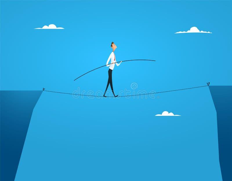 Camminata degli equilibri dell'uomo d'affari illustrazione di stock