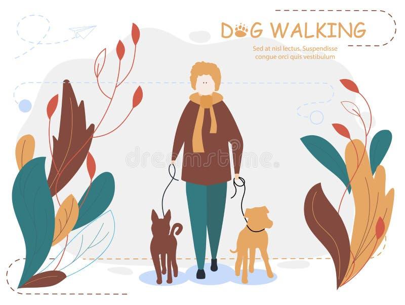 Camminata dei cani e del proprietario Illustrazione di vettore del fumetto per la pagina Web, media sociali, illustrazione vettoriale