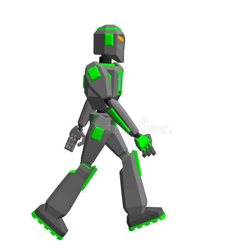Camminata del carattere del robot Isolato su priorità bassa bianca Vettore IL illustrazione di stock