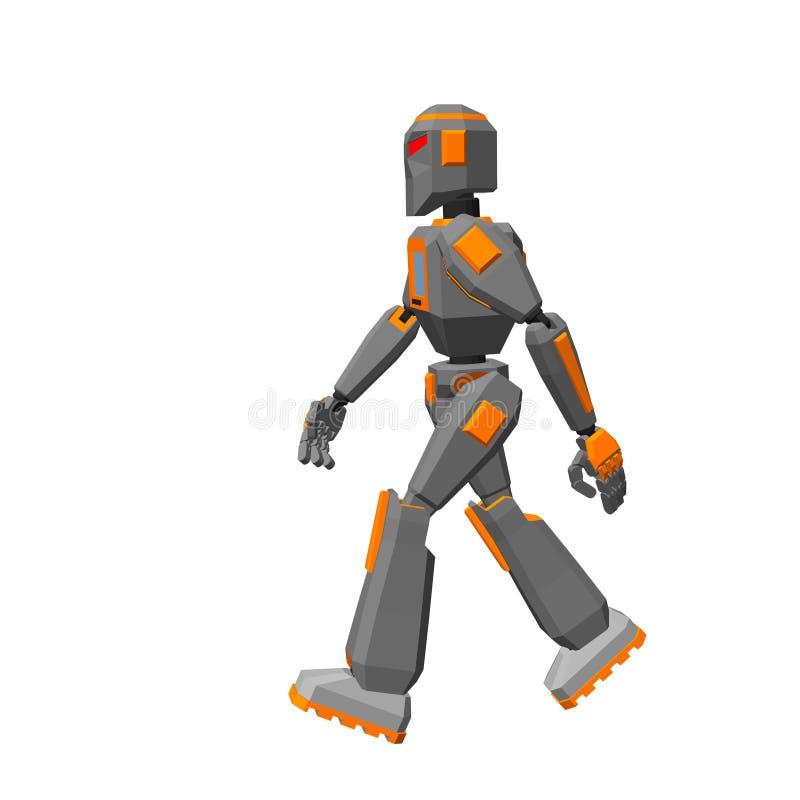 Camminata del carattere del robot Isolato su priorità bassa bianca Vettore IL royalty illustrazione gratis