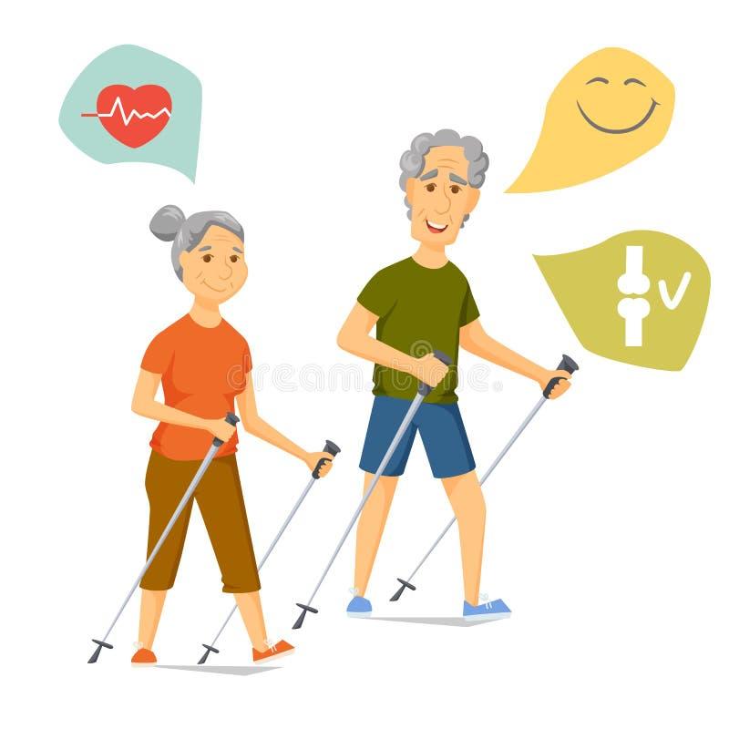 Camminata del nordico degli anziani illustrazione di stock