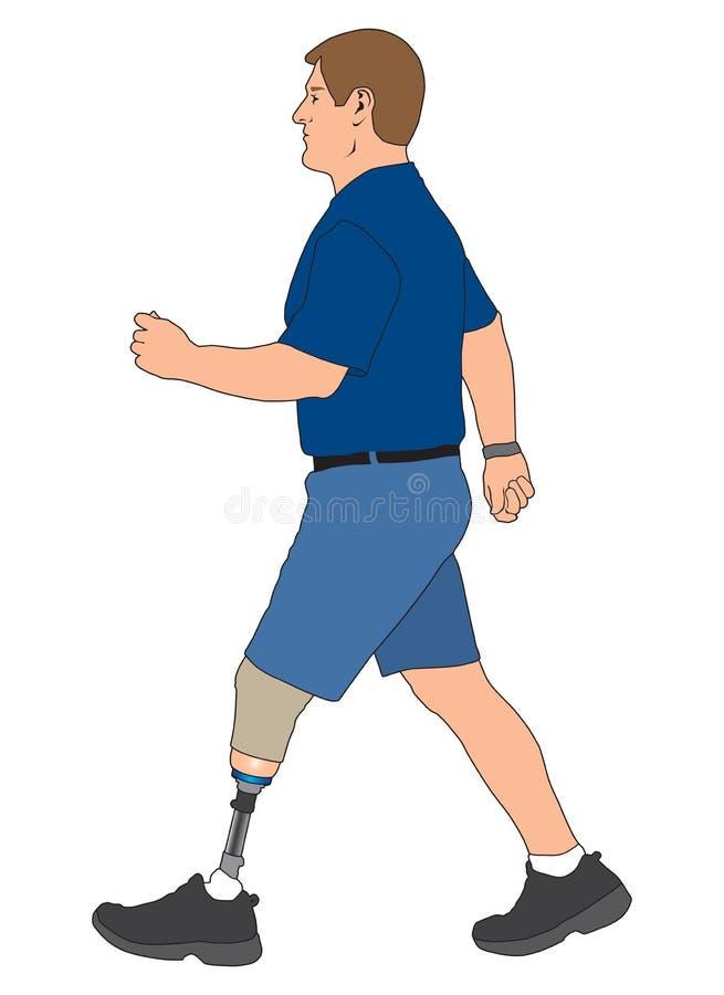 Camminata dell'amputato illustrazione di stock
