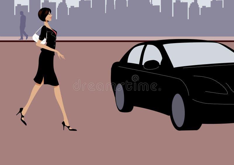 Camminata della donna di affari verso un'automobile nera sulla via illustrazione di stock