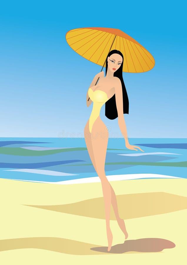 Camminata della donna sulla spiaggia fotografia stock