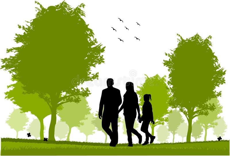 Camminata della famiglia illustrazione di stock