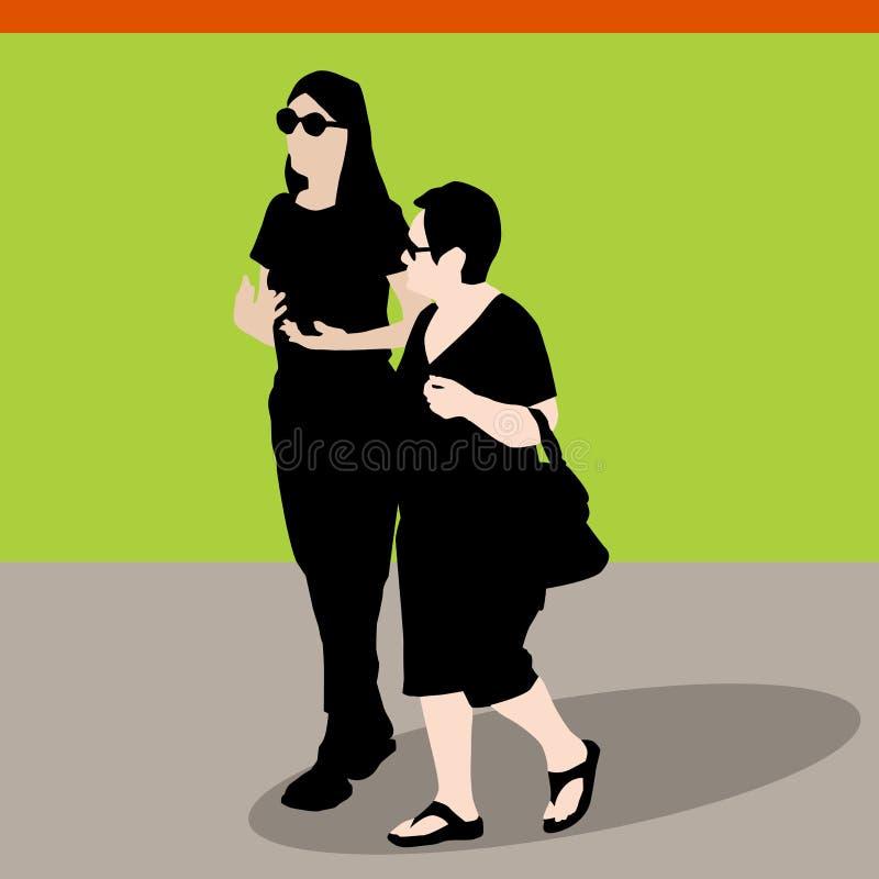 Camminata della figlia della madre royalty illustrazione gratis