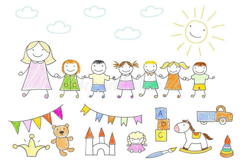 Camminata della mæstra d'asilo all'aperto con tenersi per mano dei bambini royalty illustrazione gratis