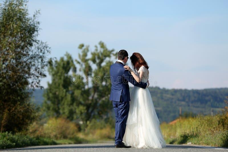 Camminata delle coppie di nozze fotografia stock libera da diritti