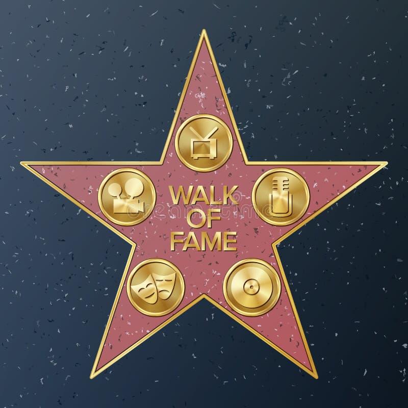 Camminata di Hollywood di fama Illustrazione della stella di vettore Boulevard famoso del marciapiede Monumento pubblico al risul royalty illustrazione gratis