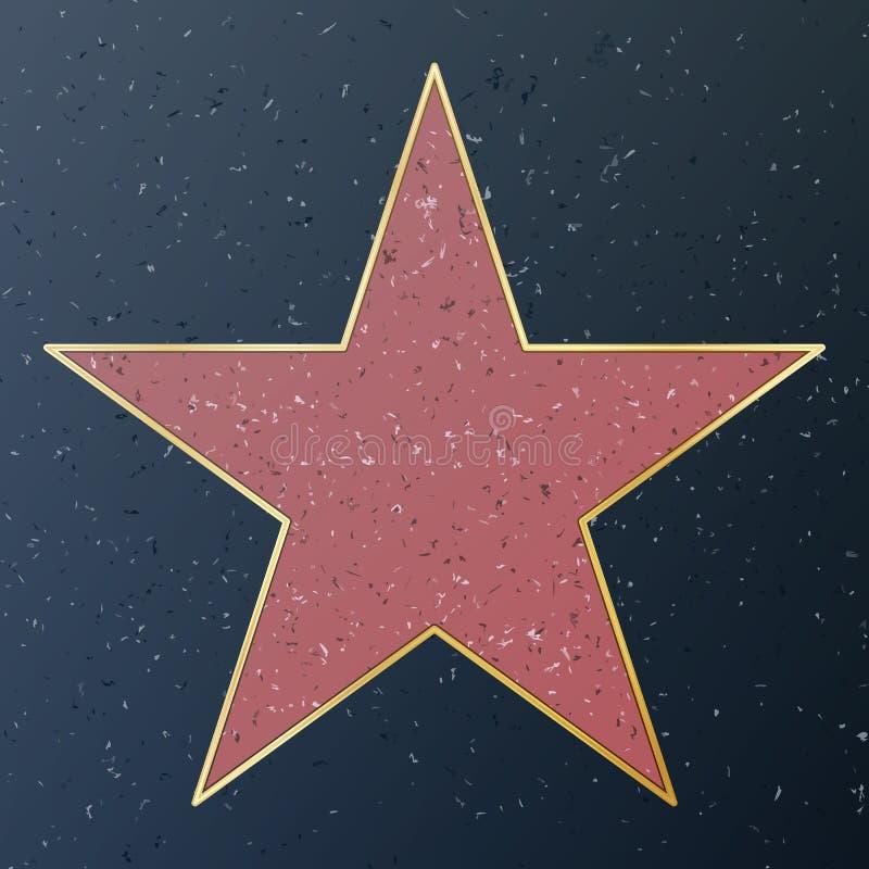 Camminata di Hollywood di fama Illustrazione della stella di vettore Boulevard famoso del marciapiede Monumento pubblico al risul illustrazione di stock