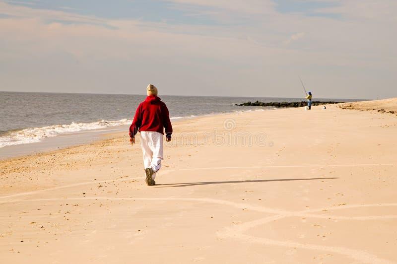 Camminata di inverno sulla spiaggia immagine stock libera da diritti