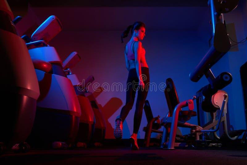 Camminata di modello di forma fisica femminile fra due file del machin di esercizio immagini stock libere da diritti