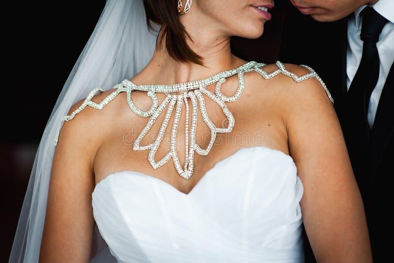 Camminata felice dello sposo e della sposa, abbracciante immagine stock libera da diritti