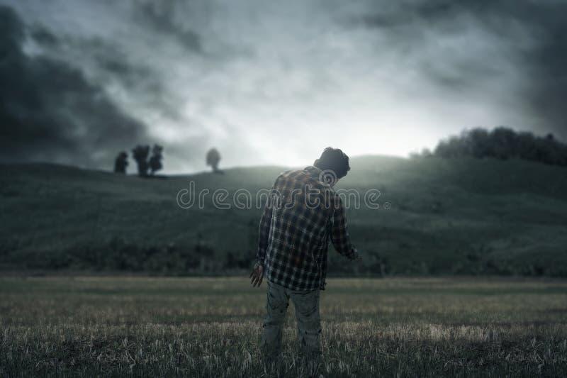 Camminata spaventosa dell'uomo dello zombie all'aperto fotografie stock