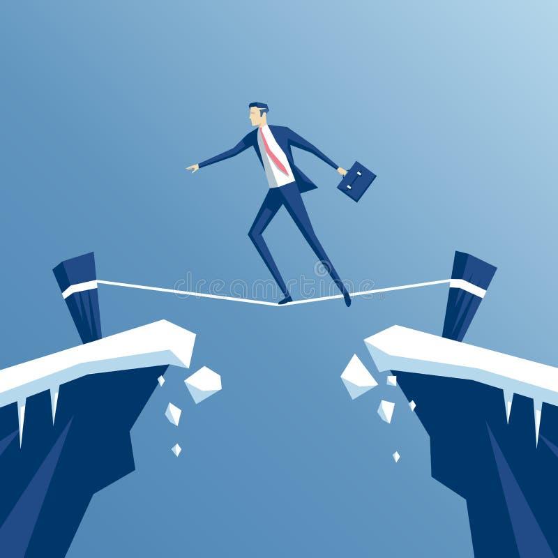 Camminatore della corda per funamboli dell'uomo d'affari illustrazione vettoriale