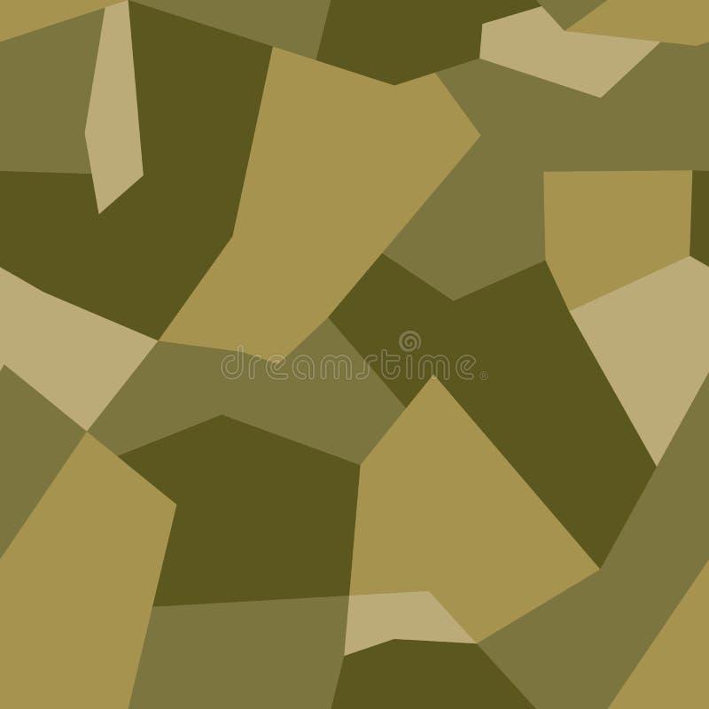 Cammuffamento geometrico moderno dell'estratto per il panno, i veicoli delle automobili e le armi Toni verdi dei modelli di forme illustrazione vettoriale