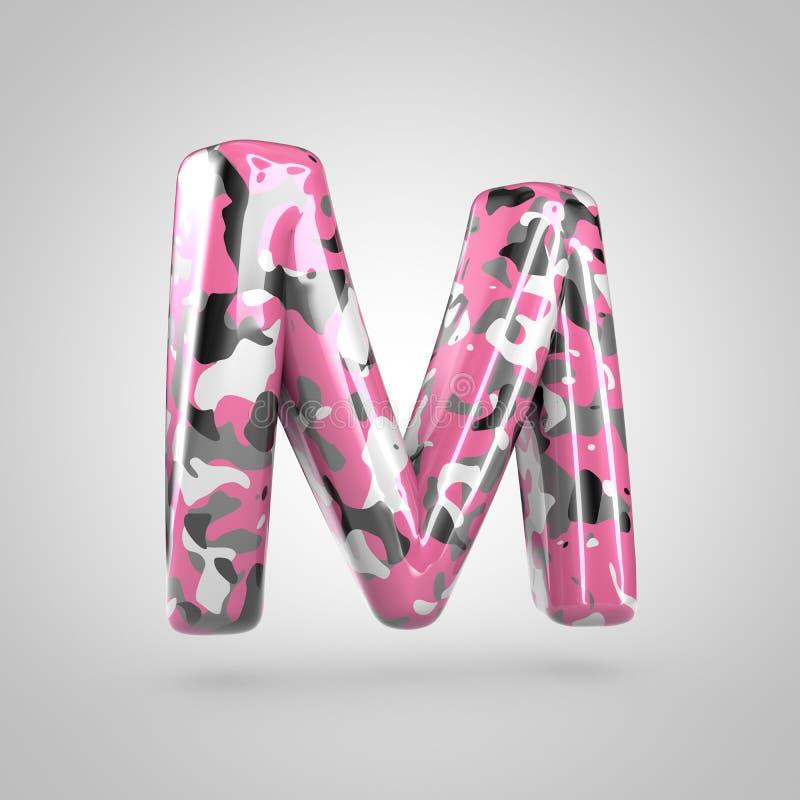 Cammuffi la maiuscola della lettera m. con il modello rosa, grigio, in bianco e nero del cammuffamento isolato su fondo bianco illustrazione vettoriale