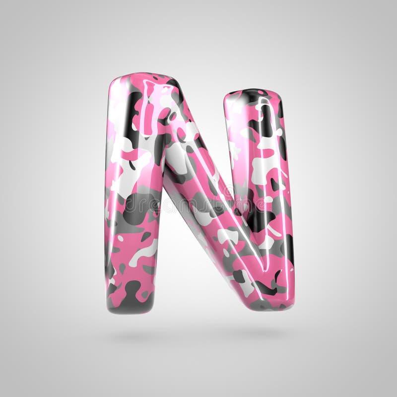 Cammuffi la maiuscola della lettera N con il modello rosa, grigio, in bianco e nero del cammuffamento isolato su fondo bianco illustrazione di stock