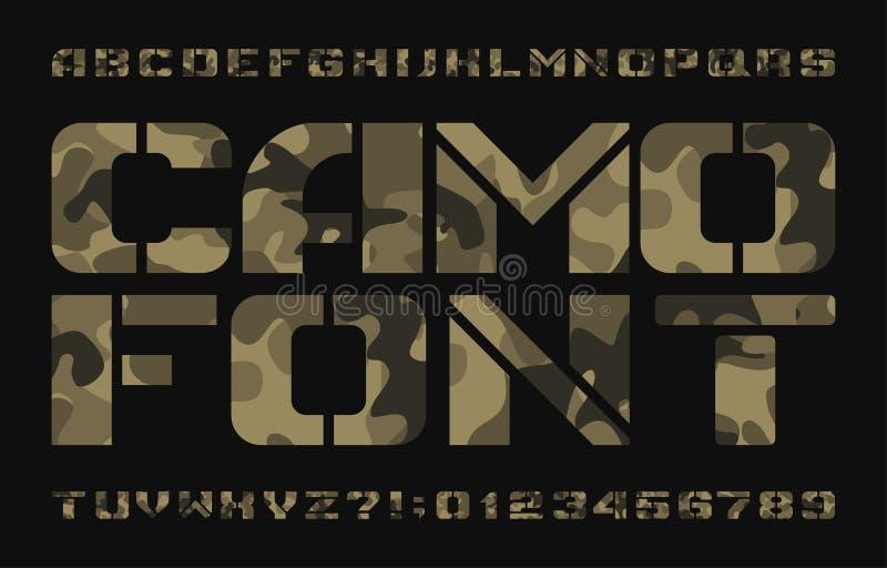 Camo alfabetmaskinskrivet manuskript Stora bokstavsbokstäver och nummer för stencil på en mörk bakgrund vektor illustrationer