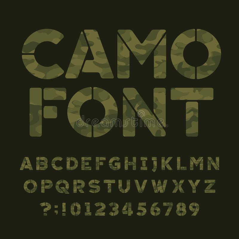 Camo alphabet font. Type letters and numbers on a dark green background. Vector typography for your design royalty free illustration