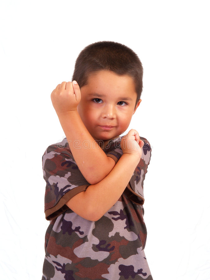Hispanic Boy in Cammo stock photography