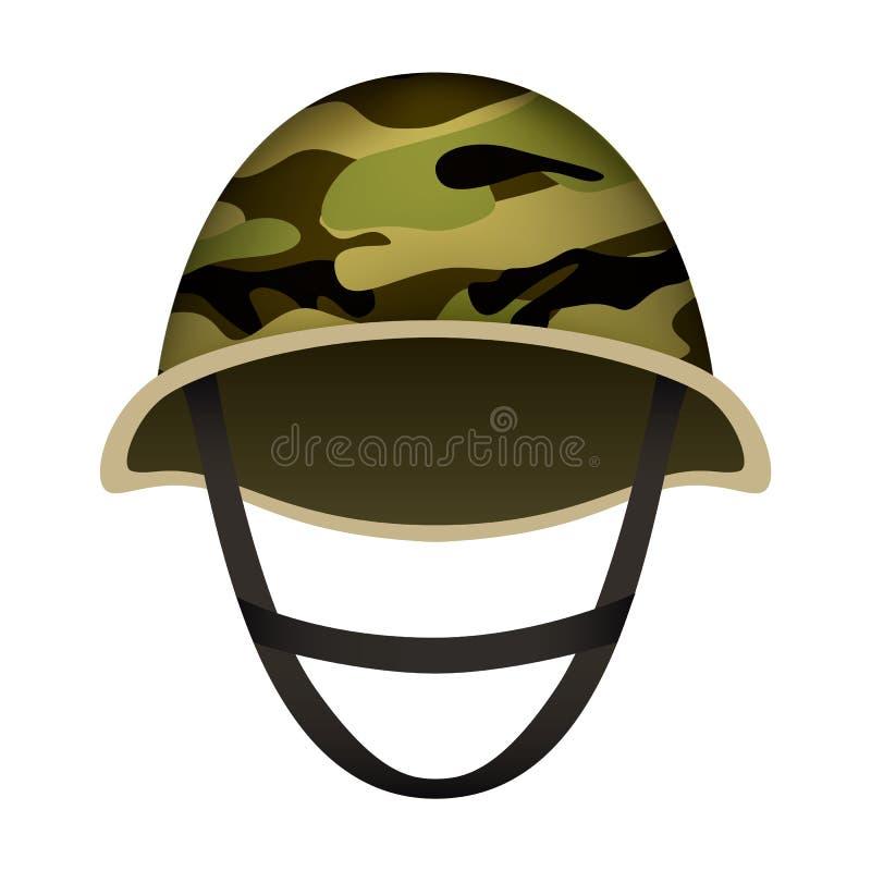 Camo hjälm av armémodellen, realistisk stil royaltyfri illustrationer