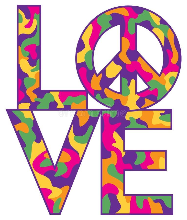 Camo LOVE=Peace en colores retros stock de ilustración