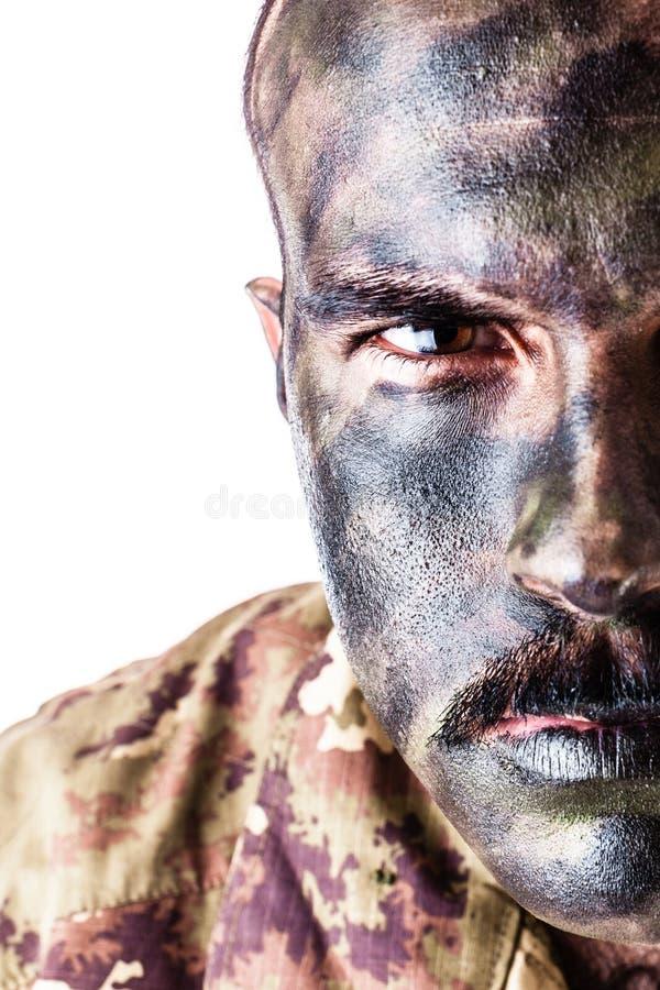 Camo soldat royaltyfria bilder