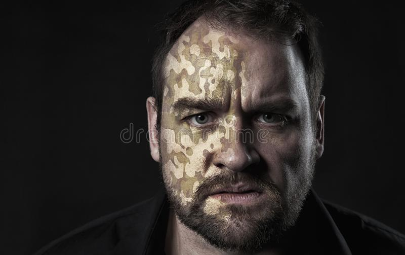 Camo tekstura na mężczyzna twarzy obraz stock