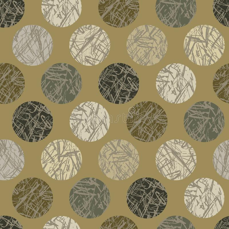 Camo texturpolka Dots Seamless Vector Pattern Background Hand dragit utomhus- stock illustrationer