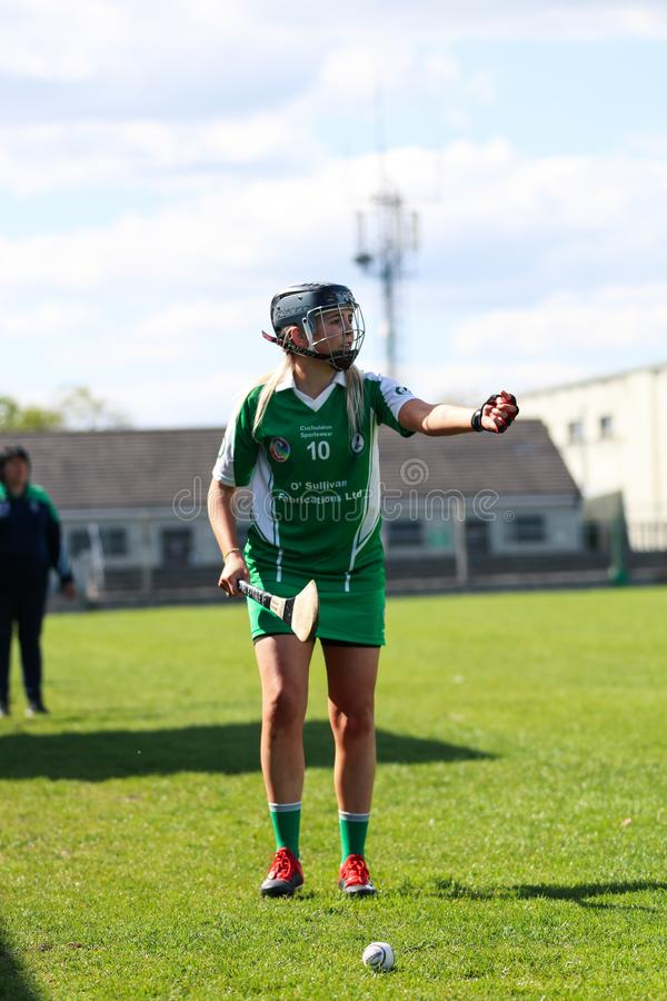 Camogie Junior Championship Semi Final - limerick vs kork arkivbilder