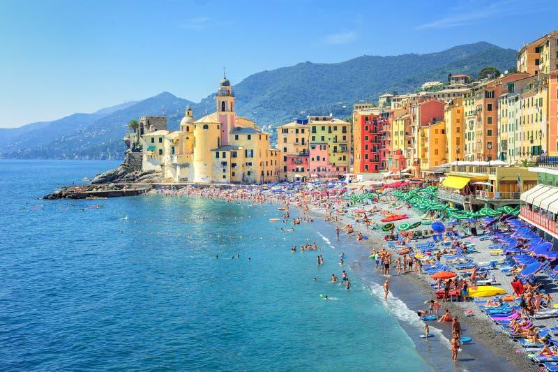 Camogli, Genoa, Italy. Sand beach on ligurian Riviera, Genoa, Italy stock images