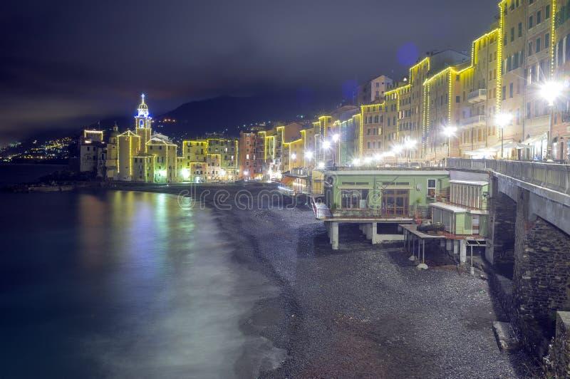 Camogli, Genoa, winter night view. Color image. Night view of the worldwide famous fishermen village of Camogli, near Genoa, along the shores of the Ligurian sea stock photography