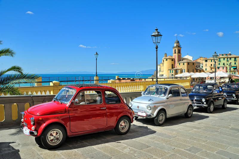 Camogli, Liguria, Italy - September 20, 2015 Festival Fiat 500 R. Ally takes place on the beach Camogli, Garibaldi Street. Between 11 am and 12:30 the stock photo