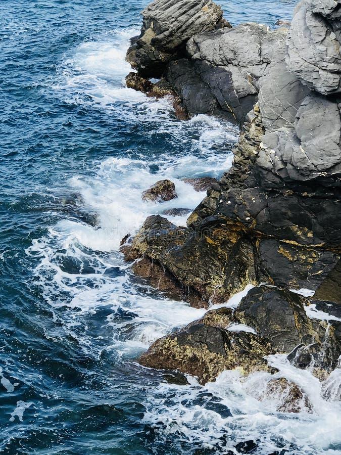 Camogli, Meerblick der Halbinsel von Portofino, Genua, Ligurien Nord-Italien lizenzfreies stockbild