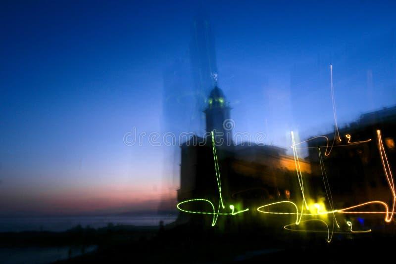 Camogli nella sera al tramonto immagini stock