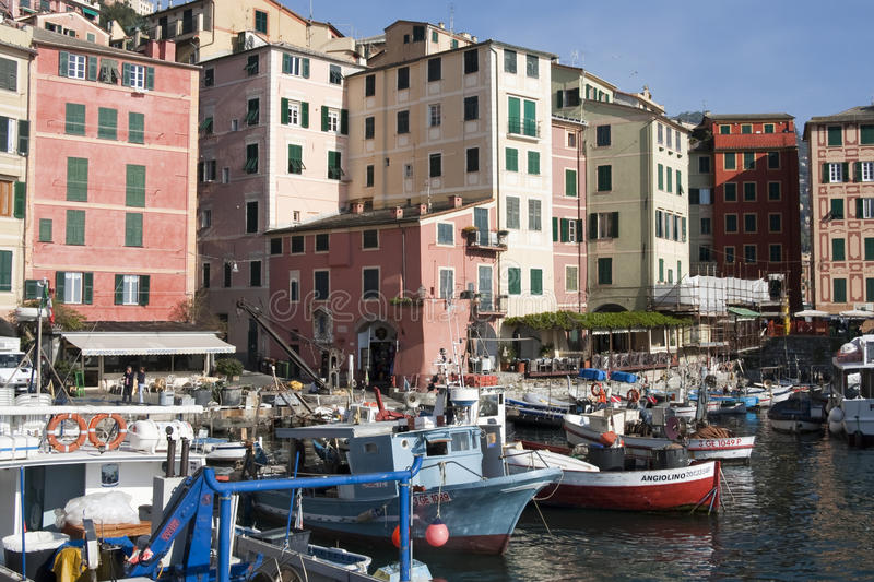 Camogli picturesque harbor royalty free stock images