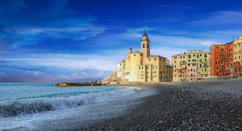 Camogli view - promenade and beach - Ligurian sea. Italy stock photo