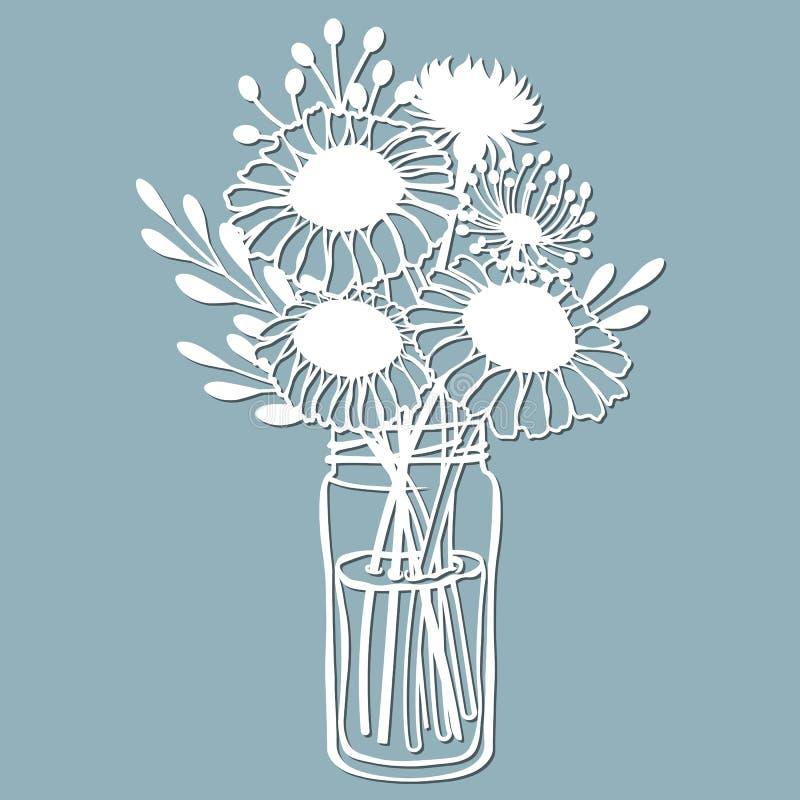 Camomila, dente-de-leão e stokesia em um frasco da água Ilustração do vetor Flor de papel, etiquetas Corte do laser Molde para o  ilustração stock