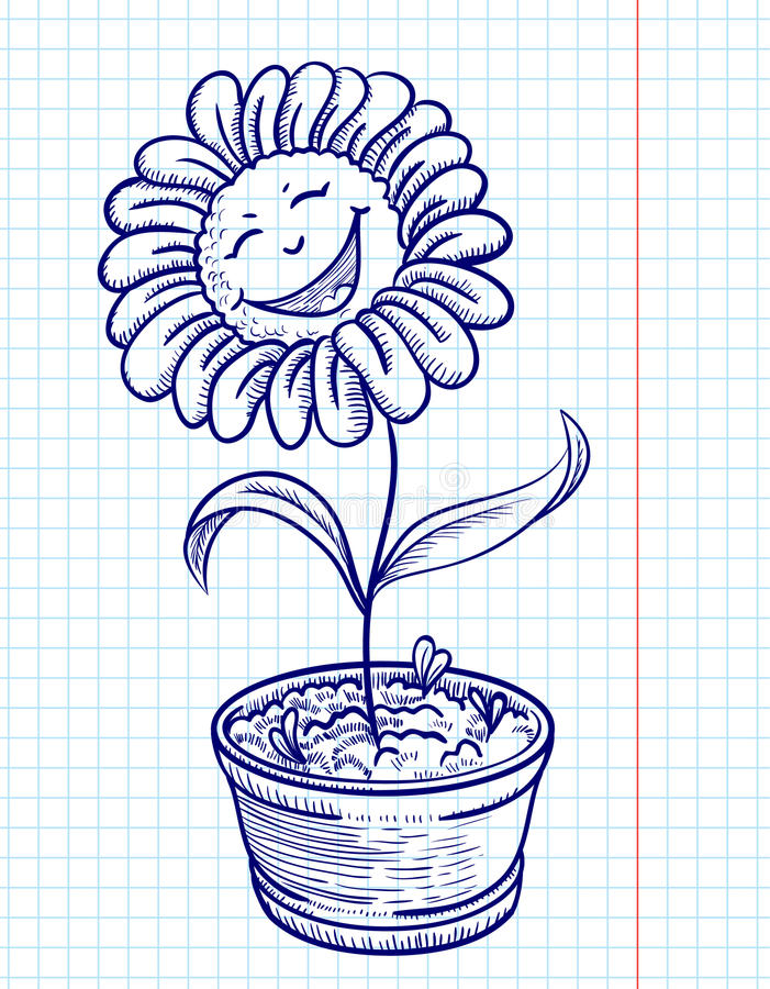 Camomila do Doodle ilustração do vetor