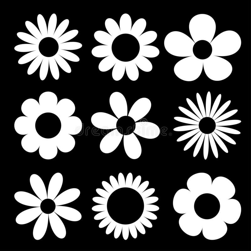 Camomile big set. White daisy chamomile silhouette icon. Cute round flower head plant collection. Love card symbol. Growing. Concept. Flat design. Black vector illustration